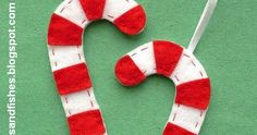 As promised, here's the first festive project for my Crafty Christmas  series: sweet and simple felt candy cane ornaments.      These are a ...