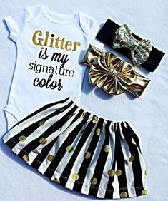 #LivAndCo Baby Clothes, Cute Girl Clothing, Glitter Is My Signature Color, Gift, Toddler Girl Shirt, Girls TShirt, Gold Sparkle, Girly Sayings, Liv & Co.™️ - Liv & Co.