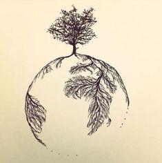 Trendy Tattoo Tree Roots Nature + Ideas – Tattoo World Nature Tattoo Sleeve, Nature Tattoos, Body Art Tattoos, Sleeve Tattoos, Life Tattoos, Trendy Tattoos, Tattoos For Guys, Cool Tattoos, Tatoos