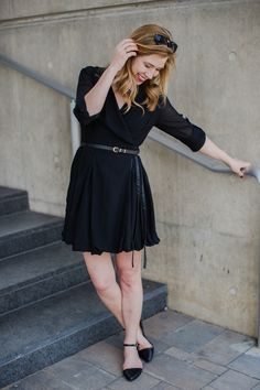 Sweet swingy dress and darling, darling shoes.