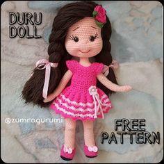 crochet toys and dolls Samyelinin rgleri: DURU DOLL (Free English Pattern) doll pattern free english ravelry Doll Amigurumi Free Pattern, Crochet Dolls Free Patterns, Amigurumi Doll, Crochet Doll Clothes, Crochet Doll Dress, Easy Knitting Projects, Diy, Easy Crochet, Tutorial Crochet