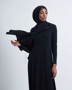 INAYAH | We source natural fabrics and blends to in order to create high quality clothing - Long Black Maxi #Dress + Navy Modal Blend #Hijab - www.inayah.co