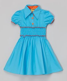 This Blue Shirred Puff-Sleeve Dress - Toddler & Girls by Lele for Kids is perfect! #zulilyfinds