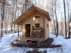 The Fernstone Cabin - Tamworth, New Hampshire, built with local materials by Trevor Curtin of Grandfather Oak Carpentry.