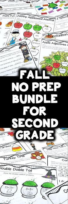 Fall No Prep Bundle for Second Grade is full of no prep printables for the season! Apples, pumpkins, Halloween, Labor Day and Thanksgiving, it's all here! This bundle saves you money and includes both Fall Math and Literacy packs! This unit is geared towards 2nd graders, but can also be used for talented first graders or third graders who may be struggling a bit. This product is meant to be a time saver. Just print!