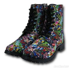 Women's Boots Marvel Comic Print  - Black and multicolor Combat Boots - Made from a classy canvas with a zipper on the inside heel, the colorful Marvel Comic Print Women's Boots are coated in a cornucopia of retro comic covers featuring superheroes such as Iron Man, Hulk, Captain America, and Spider-Man! Geek girl humor comics inspired women's fashion statement boots. Cute teenager outfit idea for school, girls night out, or rave.  raver girl. This is an affiliate link.