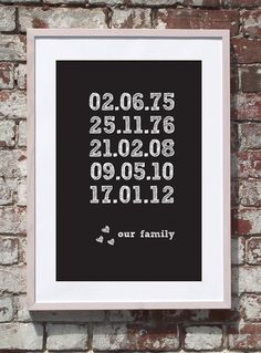 Love this idea because I can include Alexis' birth date as part of our family. Decorating Ideas, Decor Ideas, Letter Board, Dates, Birth, Entryway, Digital, Creative, Handmade Gifts