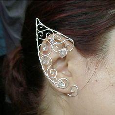 Fairy ear cuff Elven ears elf costume wire wrapped earcuff in silver... ($40) ❤ liked on Polyvore featuring jewelry, earrings, silver earrings, silver ear cuff, wire wrapped earrings, crystal bead earrings and ear cuff jewelry