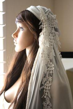 CHIFFON Bridal Cap Veil with Dangling Lace by LasVegasVeils, $190.00