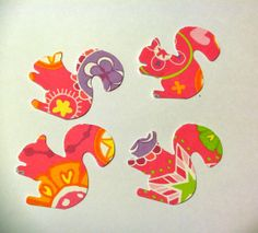 50 colorful  squirrels with pinks Hand Punched by aseyeseeitlal, $1.85