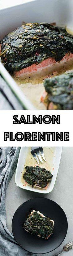 Low Carb Salmon Florentine - Keto Friendly, Gluten Free, Dairy Free
