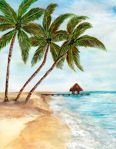 portrait of beach scenes Beach Watercolor, Watercolor Trees, Watercolor Landscape, Watercolor Paintings, Beach Paintings, Watercolors, Tropical Art, Beach Scenes, Beach Art