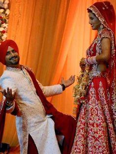 @geeta_basra @harbhajan_singh (in SRK pose) Wedding, end Oct, 2015, Jalandhar, Bridal Ensemble by @archana_kochhar