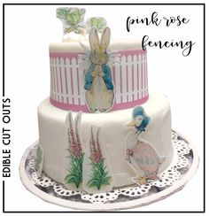 £1.99 GBP - Peter Rabbit Pink Fence Icing, Wafer Cake & Cupcake Toppers Birthday Christening #ebay #Home & Garden