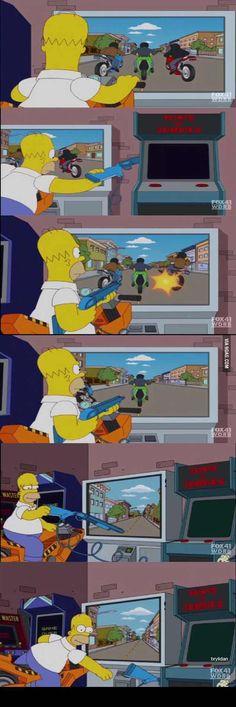 Homer at the arcade