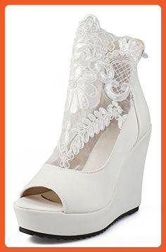 IDIFU Women's Sexy Lace Spliced High Heels Wedge Platform Sandals Boots  Back Zipper (White,