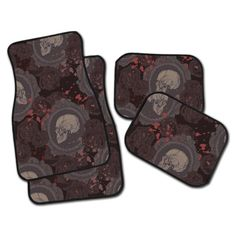 Hey, I found this really awesome Etsy listing at https://www.etsy.com/listing/232860918/cameo-rose-skull-car-mats-you-choose-2