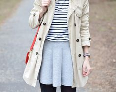 Posts about outfit written by fresshion Gray Skirt, Striped Tee, My Outfit, Trench, My Style, Grey, Coat, Skirts, Jackets