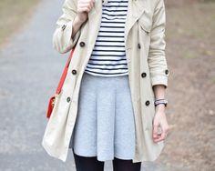 trench coat, striped tee & grey skirt by www.fresshion.com