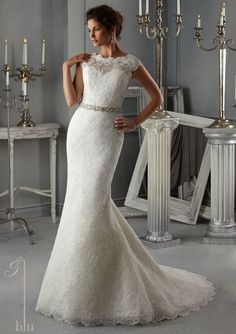 Blu by Mori Lee 5268 Lace Fit and Flare Wedding Dress