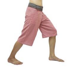 Light Pink Thai Fisherman Pants Short 3/4 with Thai hand woven fabric on waist side, Wide Leg pants, Wrap pants, Unisex pants  $22.00 Free shipping