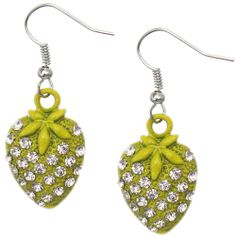 Candy Luxx - Yellow Rhinestone Mini Strawberry Dangle Earrings, $5.99 (http://www.candyluxx.com/products/yellow-rhinestone-mini-strawberry-dangle-earrings.html)