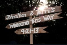 Custom wooden sign with arrows and wedding by SweetPeaUpcycle. https://www.etsy.com/listing/159689740/custom-wooden-sign-with-arrows-and?ref=shop_home_active_7