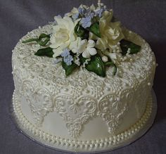 """""""Carolyn mold"""" enhanced lace mat 8 mm beadmaker pearls Handmade 5 mm pearls added between Gorgeous Cakes, Pretty Cakes, Amazing Cakes, One Tier Cake, Fantasy Cake, Cakes Plus, Just Cakes, Take The Cake, Novelty Cakes"""