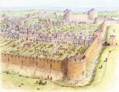 Walled city The Town Walls, County Kilkenny by Philip Armstrong Fantasy Town, Fantasy Castle, Fantasy Map, Fantasy World, Medieval Life, Medieval Castle, Medieval Fantasy, Castle Layout, Castle Drawing