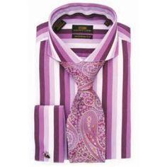 DM1185 Purple Steven Land Dress Shirts @ FashionMenswear.com  The Steven Land Collection 100% Cotton Dress Shirt Tonal Stripe Cutaway ...