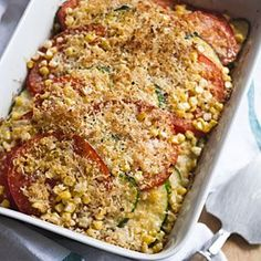TOMATO-CORN-ZUCCHINI-CASSEROLE:  Layer sliced Tomatoes, Zucchini, Corn & Parmesan (I'll add Mushrooms). Sprinkle with a little breadcrumbs and bake.