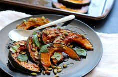 Roasted Gochujang Kabocha Squash - The sweet and delicious kaboucha squash takes on a spicy appeal with Korean condiment Gochujang. It's then brightened up with herbs and given a crunchiness with the toasted Pepitas. A great table side to please your dinner guest.