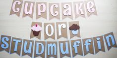 Gender Reveal Cupcake or Studmuffin Banner by FinePaperCrafts