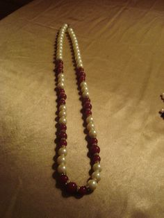 "Retro Faux Pearl Burgundy Glass Beads & Rhinestones 30"" Strand Necklace #Unbranded #StrandString"