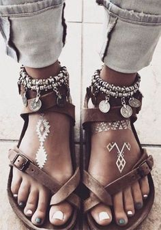 Brown Round Toe Flat Metal Decoration Buckle Casual Sandals