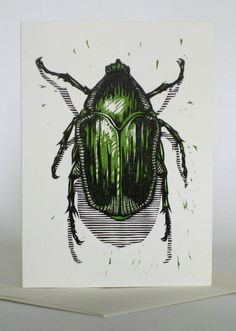 Green June Beetle, 2007 ~ Woodcut / Letterpress ~ Jonathon Poliszuk, Pellinore Press