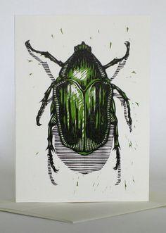 Green June Beetle, 2007 ~ Woodcut / Letterpress ~ Jonathon Poliszuk, Pellinore Press