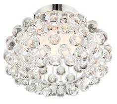 "Chrome 8 1/4-Inch-H Possini Euro Flushmount Ceiling Fixture - #EU12045 - Euro Style Lighting, 12.75"" wide x 8.25"" high, 100w halogen bulb"