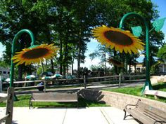 Custom site amenities.  Sunflower shade & water sprayers at Turtleback Zoo in NJ.  #Architecture #CoolStuff #Custom
