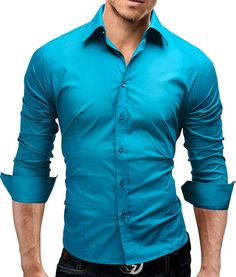 MERISH Dress Shirt Slim Fit 14 colors sizes S-XXL Men`s Modell 01 Turquoise M