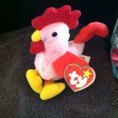 7b72585f3e8 1993 Ty Teenie Beanie Babies ( Strut The Rooster) Original  shopsmall BUY  NOW  10.00