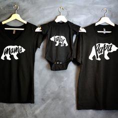 Papa Bear Mama Bear Baby Bear T-shirt by HelloHandpressed