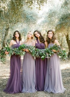 "**Color Scheme** This has been the photo she keeps going back to for the whole ""feel"" and style of her wedding. She loves this soft and earthy color scheme. Especially with the forrest green against the purple and lavender colors."