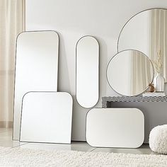 Sale ends soon. Edged with a slim gunmetal band, this minimalist wall mirror curves a subtle arch of modern elegance. A Crate & Barrel exclusive, its reflective beveled glass creates delicate interest. Round Wall Mirror, Round Mirrors, Floor Mirrors, Arch Mirror, Mirror Ideas, Mirror Image, Crate And Barrel, Laura Lee, Minimalist Wall Mirrors