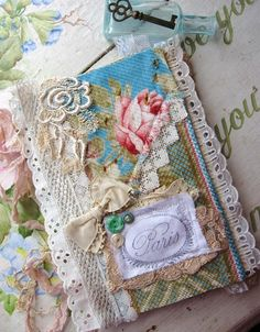The PARIS ROSE JOURNAL - Antique Fabric and Lace - Repurposed Hardcover Book. $22.00, via Etsy.