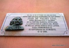 #Sevilla capital - Valdés Leal GPS 37.393889, -5.993889  Pintor español. En la fotografía la lápida de la Iglesia de San Andrés.