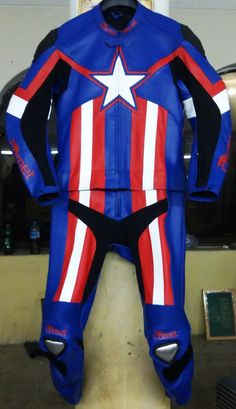 Captain America On A Bike Comet Racing Leathers Completely