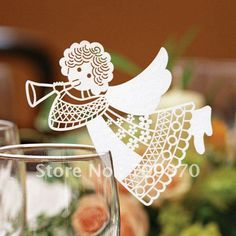 EC1108-30 12pcs/pack Laser Cutting Angel Place Card on Wine Glass(colour and pattern can be customized)