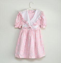 Vintage 1980s pink floral girl's dress