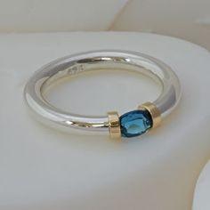 Sterling Silver Gem Set Tension Ring - rings